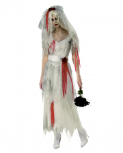 Ghost Bride Costume With Veil For Ladies