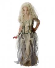 Geister Braut Kostüm mit Schleier für Kinder