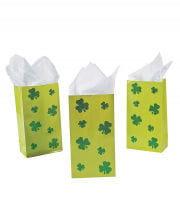 St. Patricks Day Geschenktüten mit Kleeblättern 12 St.