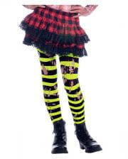 Gestreifte Fetzen Neon Kinderstrumpfhose