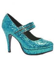 Glitter Mary Janes Pumps blau