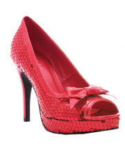 Glitter pumps with bow red