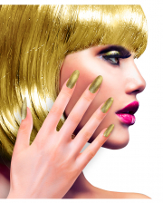 Glitter Fingernails Gold 12 Pcs.