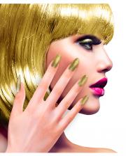 Glitzer Fingernägel Gold 12 St.