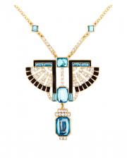 Golden Pharaoh Necklace With Rhinestones & Topaz Stones