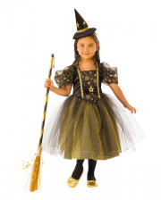 Golden Star Witch Costume With Tulle For Children