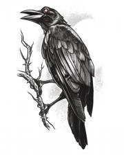 Gothic Glue Tattoo Raven