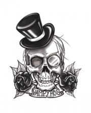 Gothic Klebetattoo Vampyros Totenkopf