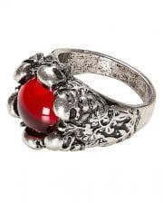 Gothic Ring mit Stein und Totenschädel