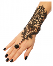 Gothic Lace Bracelet With Rose Ring