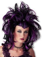 Gothic Teufelin Perücke violett schwarz