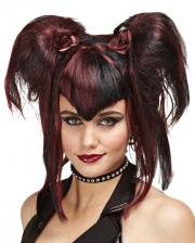 Gothic Fee Perücke schwarz rot