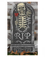 Gravestone With Skeleton And Rose