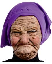 Grimmige Oma Maske mit Kopftuch
