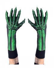 Grüne Skelett Handschuhe UV Aktiv