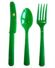 Plastic cutlery 24 pieces green