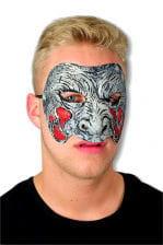 Zombie Maske grau rot