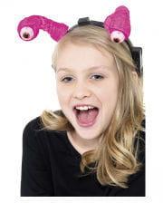 LED Haarreif mit Alienaugen pink