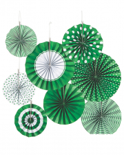 Hanging Decoration Fan Set Green White 8 Pcs.