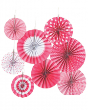 Hanging Decoration Fan Set Pink White 8 Pcs.