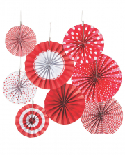 Hanging Decoration Fan Set Red White 8pcs.