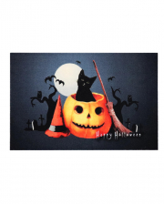 Halloween Doormat With Pumpkin & Cat Motif