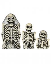 3-tlg. Skelett Grabstein Set