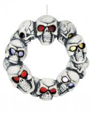 Halloween Skull Door Wreath With LED Eyes