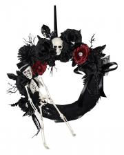 Halloween Türkranz mit Skelett & Blumen