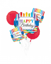 Happy Birthday Foil Balloon Bouquet Colourful