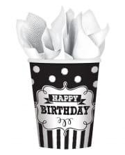 Happy Birthday Pappbecher schwarz-weiß 8 St.