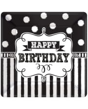 Happy Birthday Paper Plate Black-white 8 Pcs.