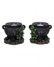 Witch Cauldron With Ivy Tealight Holder Set Of 2