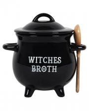 Hexenkessel mit Löffel als Suppenschüssel