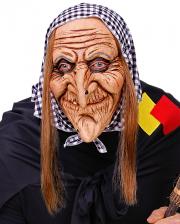 Hexenmaske mit Kopftuch & Haaren