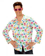 Hippie shirt white with colorful flowers Gr. XL