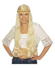 Hippie Perücke mit Haarband blond