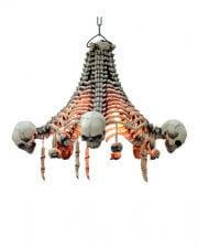 Skeletal ceiling lamp with hanging skulls