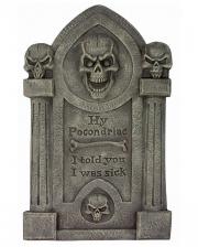 Hy Pocondriac Grabstein mit Skulls 70cm