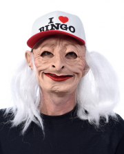 I Love Bingo Grandma Mask With Cap And Hair