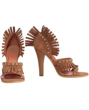 Indian Pumps With Fringes Brown