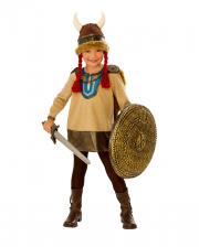 Kleine Vikingerin Kinder Kostüm mit Hörnerhelm
