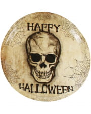 Kunststoff Teller Happy Halloween Skull