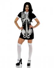 Kurzärmliges Skelett Minikleid mit Kragen