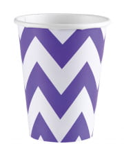 Purple Zig-zag Paper Cups 8 Pcs.