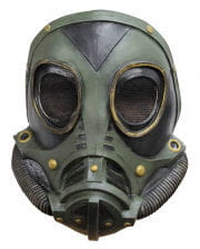 Steampunk latex gas mask green