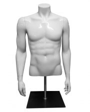 Male Shop Window Torso White With Base Plate