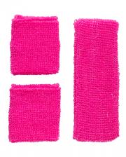 Neon Schweißband Set Pink als Kostümzubehör