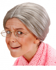 Graue Oma Kinderperücke mit Knoten