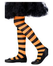 Striped Children tights black and orange